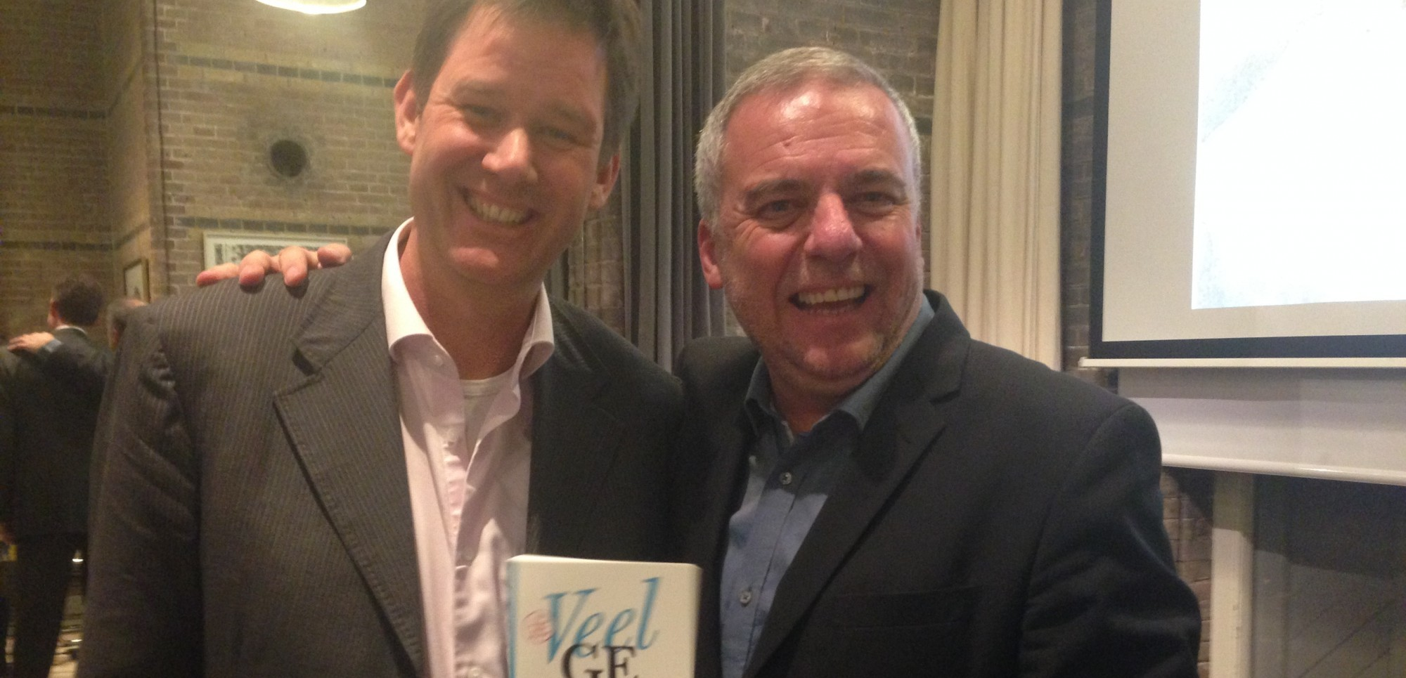 Huub van den Berg met Leo Bormans, schrijver van 'The World Book of Happiness'